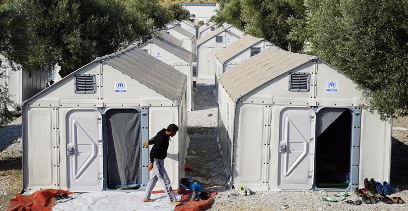shelter per rifugiati in Grecia