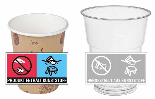bicchieri con etichetta direttiva SUP in Germania
